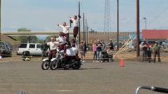 Three motorcycle stunts - stock footage