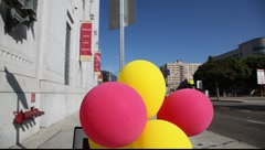"""Now leasing"" sign and balloons Stock Footage"