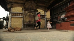 Nepal Temple Wall WS Stock Footage