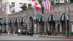 Beverly Wilshire Hotel landmark in Beverly Hills, Los Angeles, California Stock Footage
