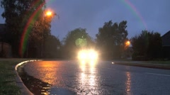 Street and Car Lights Rain Stock Footage