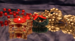 Christmas red tea candle and decorations Stock Footage