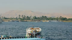 Boats on Nile River in Luxor, Egypt Stock Footage