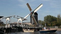 Boats and Windmill in Holland Stock Footage