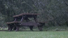 Wet Park Picnic Table Stock Footage
