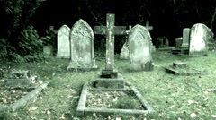 Graveyard closeup on grave stone Stock Footage