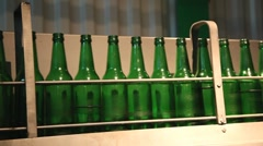 Empty green bottles Stock Footage