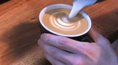 Froth from milk makes a pattern in the cappuccino - stock footage
