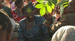 Wangari Maathai plants a tree Stock Footage