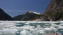 Glacier ice field ,fjord Stock Footage