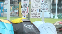 Protestors camping in Parliament Square London 60I Stock Footage
