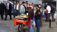 Turkey Istanbul fish vendor sell fish sandwiches Stock Footage