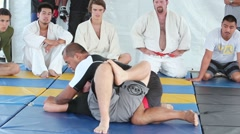 Jiu Jitsu Submission Demonstration Short - stock footage