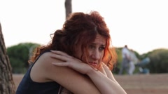 Girl crying in depression and frustration Stock Footage