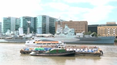 HMS Belfast on the River Thames in London 60I Stock Footage