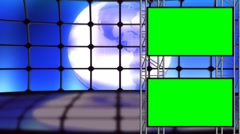 Earth Looping Virtual Set Backdrop with Green Screens On Scaffolding - stock footage