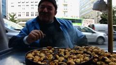Turkey Istanbul roast chestnut vendor - stock footage