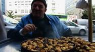 Stock Video Footage of Turkey Istanbul roast chestnut vendor