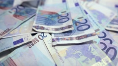 20 euro banknotes rapidly falling Stock Footage