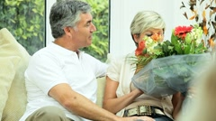 Attractive Mature Lady with Anniversary Bouquet Stock Footage