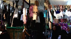 Turkey Istanbul bustle open air clothes market Stock Footage