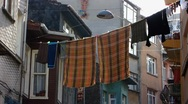 Turkey Istanbul laundry drying in the air Stock Footage