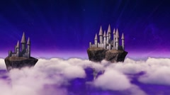 Sky-castles hovering above clouds Stock Footage