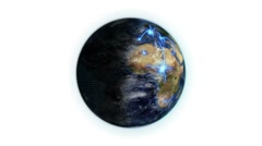 Shaded Earth with a blue network in movement with moving clouds with Earth image - stock footage