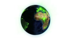 Green network on a lighted Earth with image courtesy of Nasa.org - stock footage