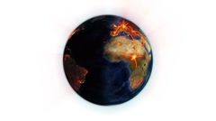 Orange network on a shaded and lighted Earth with Earth image courtesy of - stock footage