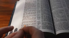 Underlining text of Holy Bible Stock Footage