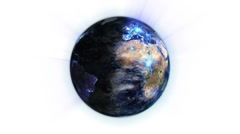 Blue network on a lighted and shaded Earth with moving clouds with Earth image - stock footage