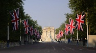 Stock Video Footage of London, Buckingham Palace and The Mall, decorated for Royal Wedding