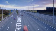 Stock Video Footage of UK, England, London, M25 Motorway, Time-lapse
