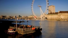London. London Eye and River Thames. Time-Lapse and Tilt-Shift - stock footage