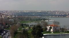 Turkey Istanbul skyline with Ataturk bridge Stock Footage