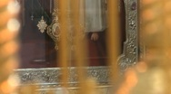 Icon of the Virgin Mary with baby Jesus in an orthodox temple, a panorama Stock Footage