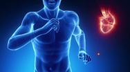 Running man in fitness with heart beat pulse Stock Footage