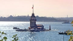 Maidens Tower, Istanbul - stock footage