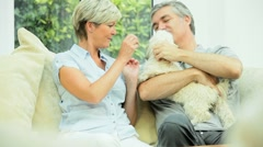Mature Couple Petting their Dog - stock footage