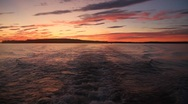 Stock Video Footage of Maine Sunset Behind Boat