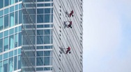 Stock Video Footage of Window washers on skyscraper