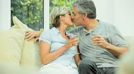 Mature Couple Celebrating with Champagne Stock Footage