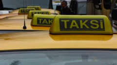 Turkey Istanbul taxi waiting by the taxi stand Stock Footage