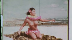 Naked Hawaiian Hula Dancer Girl NUDE Dancing 1960s Vintage Film Home Movie 602 Stock Footage