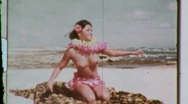 Stock Video Footage of Naked Hawaiian Hula Dancer Girl NUDE Dancing 1960s Vintage Film Home Movie 602