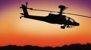 Stock Video Footage of Apache helicopter passing by during sundown