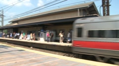 Train leaving the station. (2 of 2) - stock footage