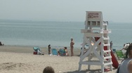 Stock Video Footage of Lifeguard stand at the beach. (2 of 3)