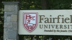 Fairfield University sign (1 of 3) - stock footage